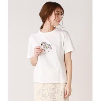 ドロワット ロートレアモン ソフト天竺ゼブラモチーフTシャツ レディース オフホワイト 38(2) 【Droite Lautreamont】