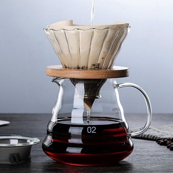 【手沖杯】手沖玻璃實木架咖啡濾杯V60沖杯加厚過濾滴濾杯分享壺勻杯云朵壺