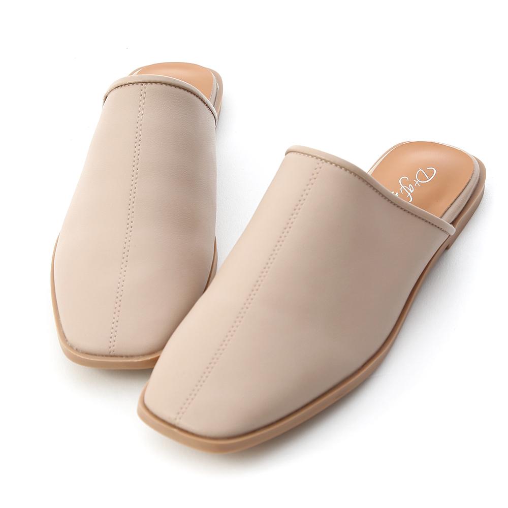 D+AF 簡約俐落 素面方頭平底穆勒鞋