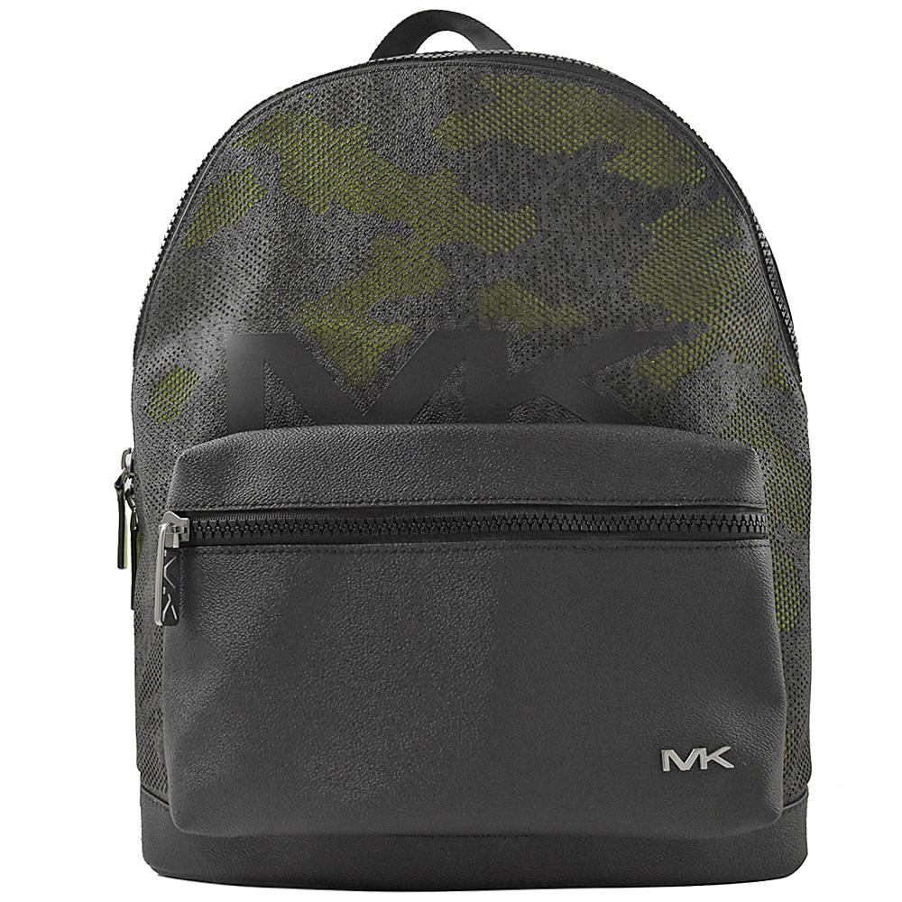 MICHAEL KORS COOPER 金屬MK LOGO迷彩拼接後背包.黑/綠