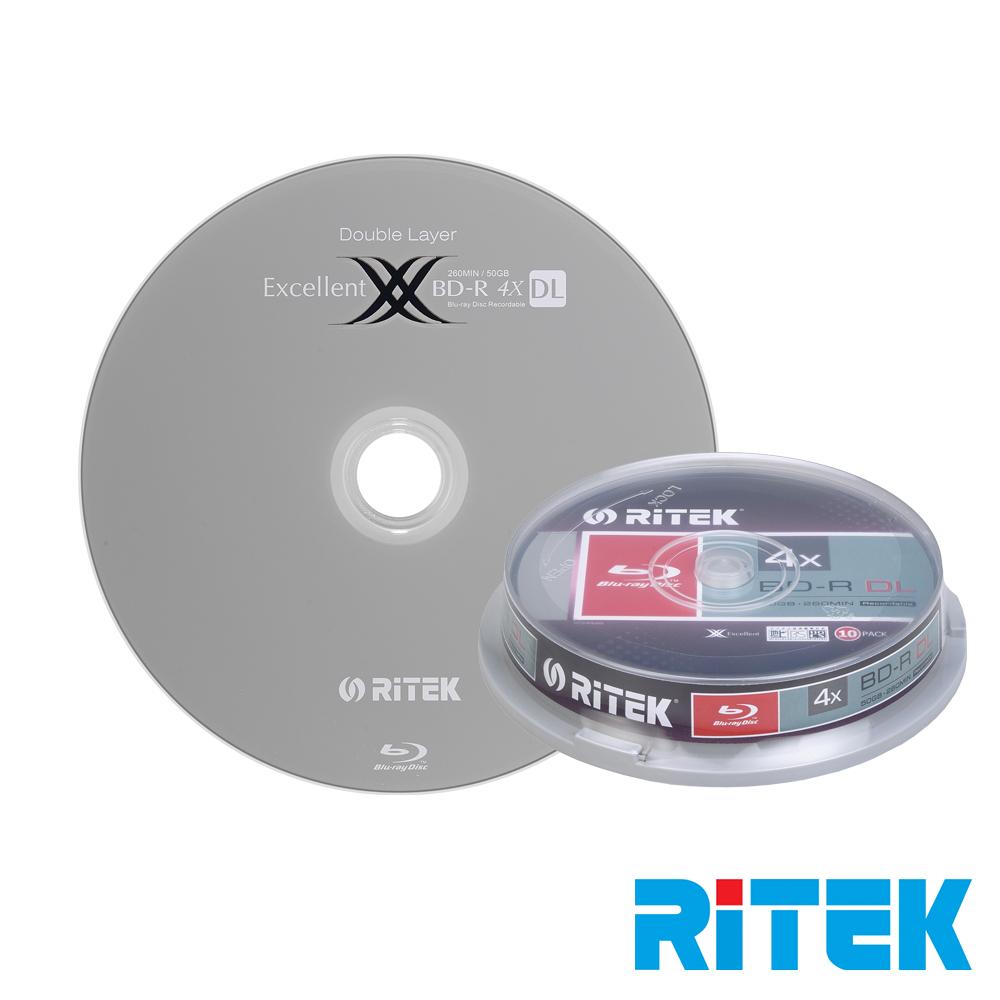 RITEK錸德 4X BD-R DL 50GB 藍光片 X版/10片布丁桶裝