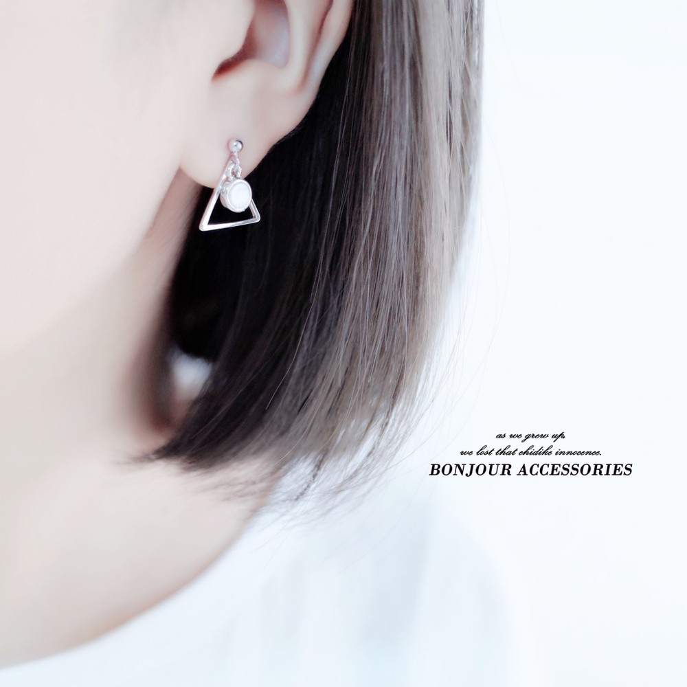 bonjouracc韓國耳環 小三角小圈 天然石 925銀針 夾式 針式 耳環