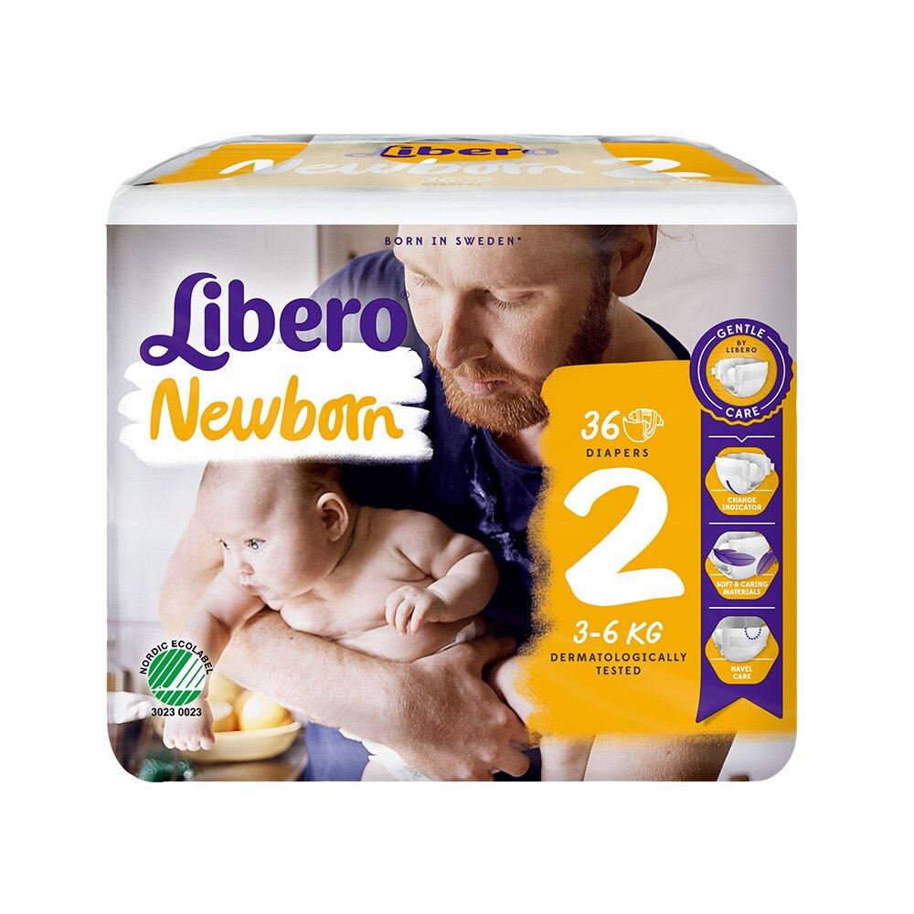 (箱購)麗貝樂 Libero 嬰兒紙尿褲2號(NB-2) 36片X6包 專品藥局【2015230】