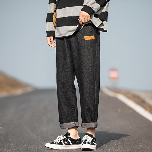 FOFU-直筒牛仔褲原宿日系簡約純色寬鬆百搭直筒牛仔褲【08B-G0873】