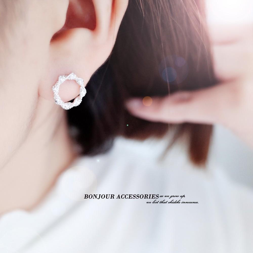 韓國氣質纏繞小圈 925銀針 耳環 bonjouracc