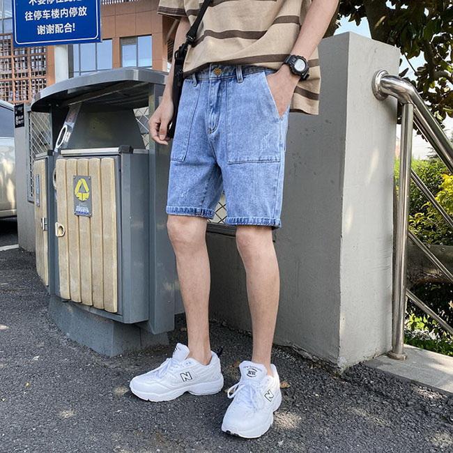 FOFU-五分牛仔褲日系大口袋修身潮流淺色五分牛仔褲【08B-G0870】