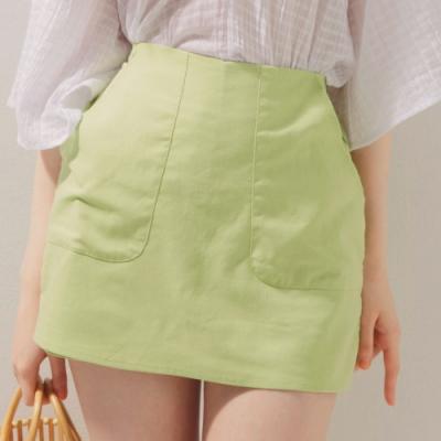 AIR SPACE 棉麻口袋車線鬆緊褲裙(綠)
