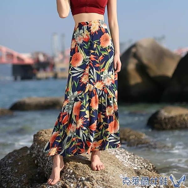 秋水仙單排扣開叉長裙夏裝雪紡巴厘島度假半身裙休閒沙灘裙 快速出貨