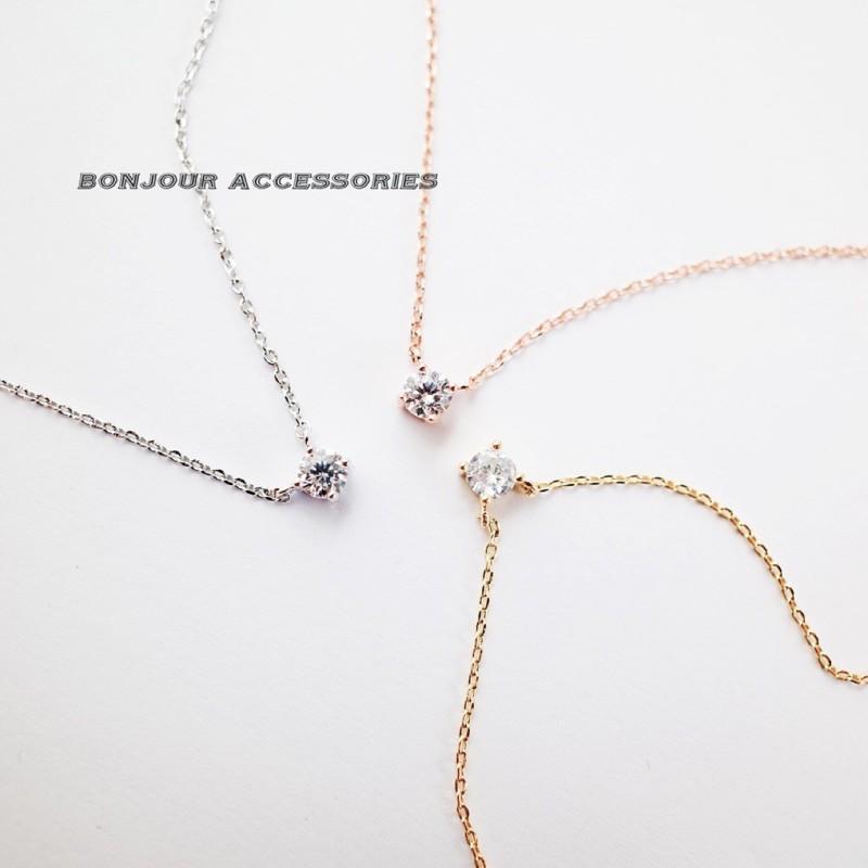 韓國單鑽 項鍊 短項鍊 鎖骨鍊 bonjouracc