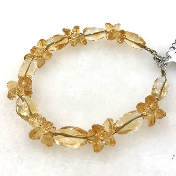 『晶鑽水晶』天然黃水晶手鍊 不規則型 小花造型 鑽石切面 超透亮 強力招財 氣質 情人節 母親節 禮物 附禮盒