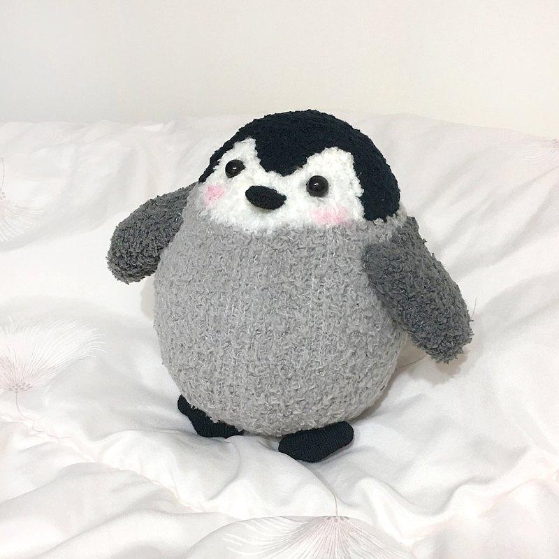 純手工 襪子娃娃 毛絨絨 企鵝寶寶