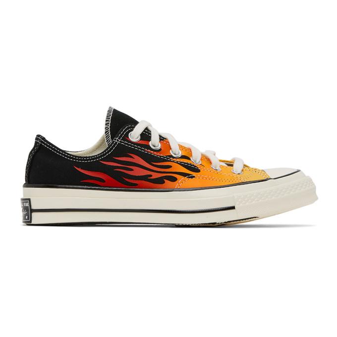 Converse 黑色 and 红色 Chuck 70 Flame 运动鞋