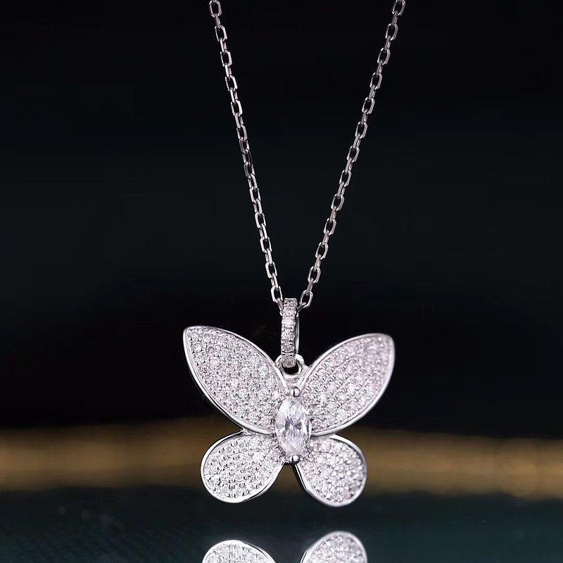18K金白金鑽石吊墜- 蝴蝶設計 連項鏈