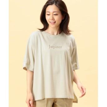 グランドパーク スリットプリントTシャツ レディース 18ベージュ 99(FREE) 【Grand PARK】