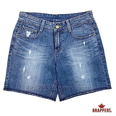 BRAPPERS 女款 Boy Friend Jeans系列-反摺短褲-藍