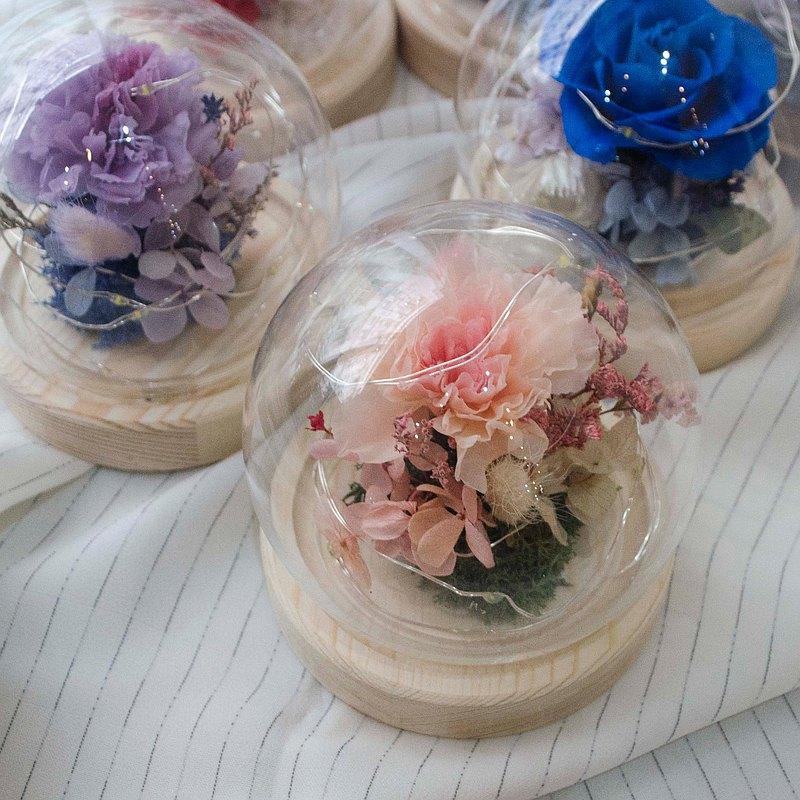 夜燈款 母親節永生花玻璃球 康乃馨玻璃罩 【附透明禮盒】