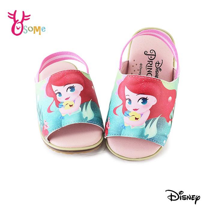 迪士尼小美人魚寶寶涼拖鞋 嬰兒涼拖鞋 小童涼拖鞋 舒適軟墊鬆緊帶 DISNEY台灣製 F5382綠色奧森