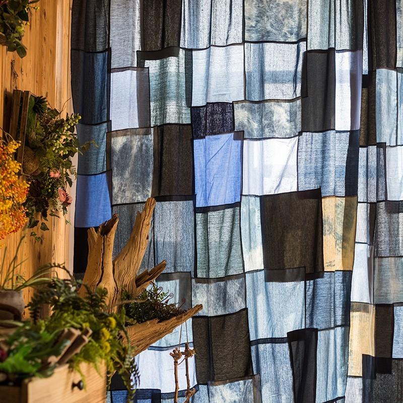 青木居家牛仔拼布手工窗簾 定制裝飾簾 半遮光 設計師地中海美式 - 一平方米掛鉤款式,牛仔拼布窗簾