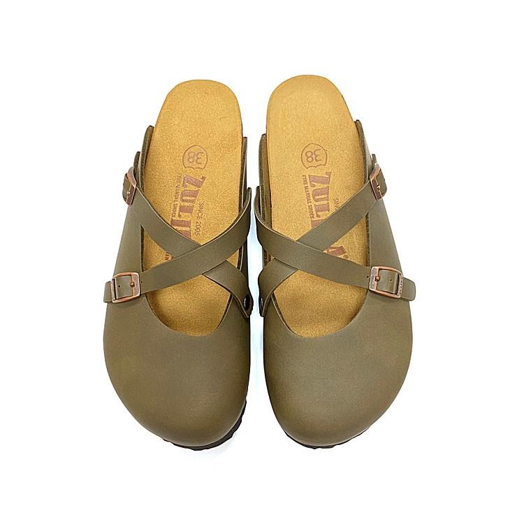 【ZULIBA時尚風格】女足跡交叉素色半包娃娃拖鞋(36~39)-墨綠