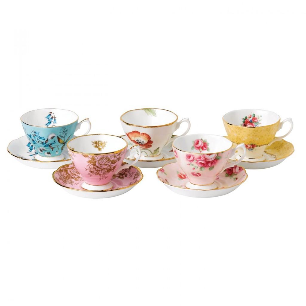 【Royal Albert】1950-1990百年紀念骨瓷杯盤-五入禮盒組 原廠盒裝