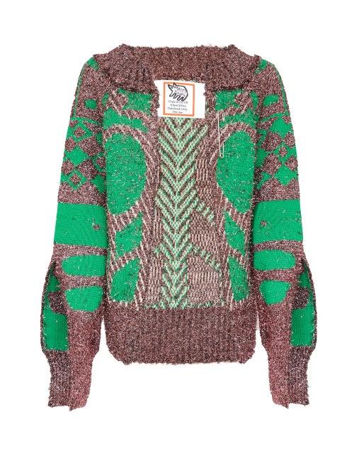 Matty Bovan - Slit-sleeve Metallic Deadstock Sweater - Womens - Pink Multi