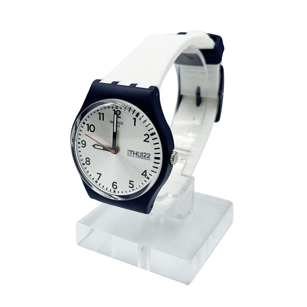 Swatch WHITE DELIGHT 雙曆 夜光 腕錶 手錶 藍白 GN720