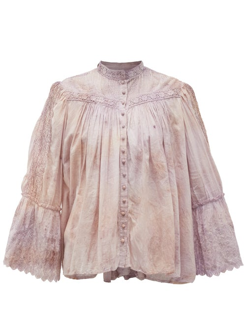Mimi Prober - Bronte Lace-trimmed Cotton-voile Blouse - Womens - Pink