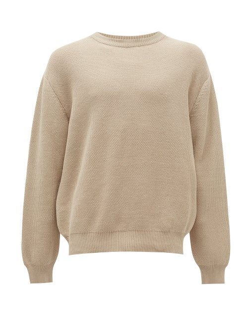 Raey - Crew-neck Cotton-piqué Sweater - Mens - Light Grey