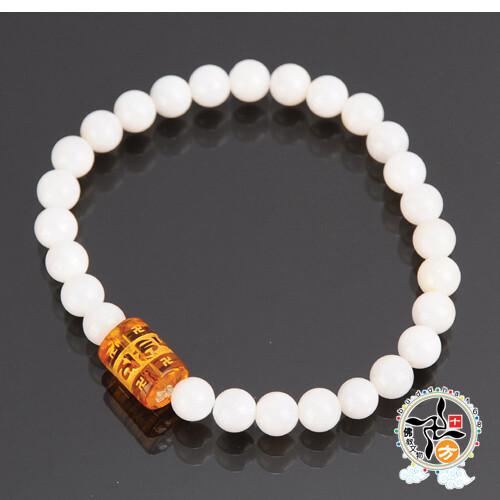 六字真言+珍珠硨磲手珠6mm+平安加持小佛卡十方佛教文物