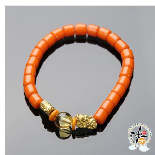 豼貅{金銅}+蜜納手珠7*7mm  +平安加持小佛卡 十方佛教文物