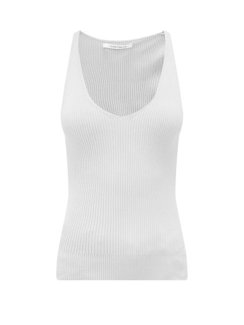 Another Tomorrow - V-neck Rib-knitted Tank Top - Womens - White