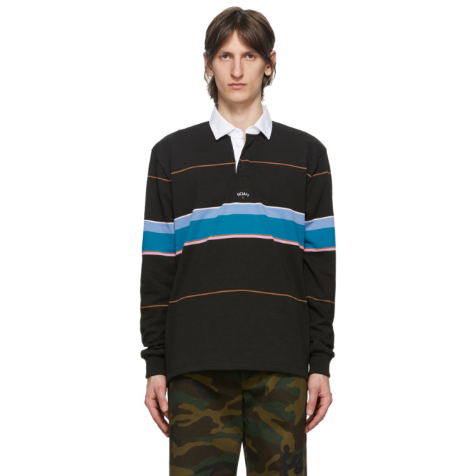 Noah NYC 黑色 Rugby 条纹长袖 Polo 衫