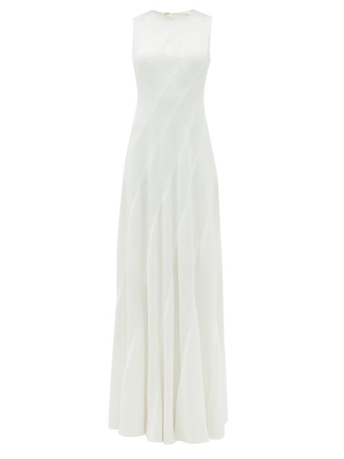 Maison Rabih Kayrouz - Sleeveless Grained-satin Gown - Womens - Cream