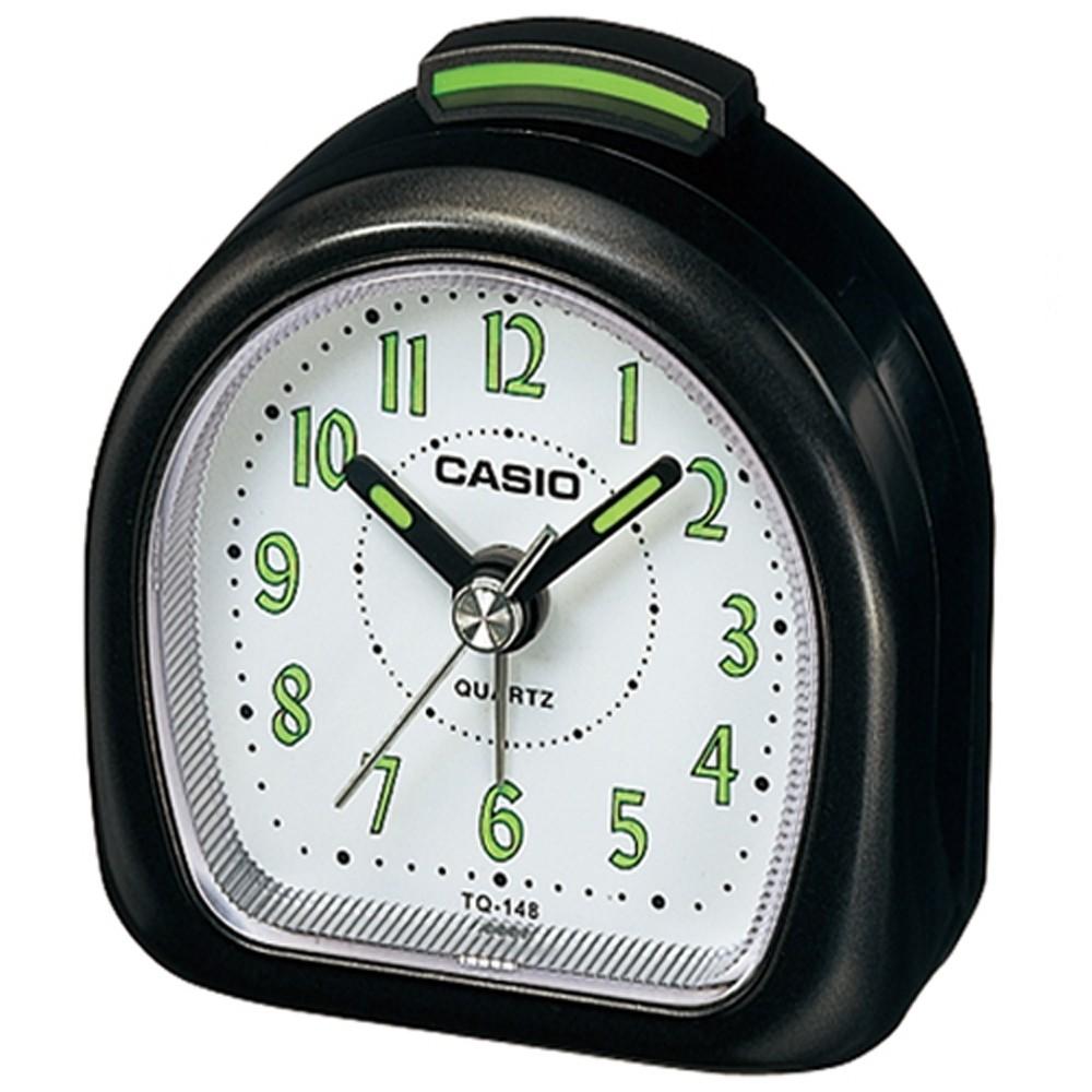 【CASIO】螢光數字輕便桌上型鬧鐘-黑(TQ-148-1)正版宏崑公司貨