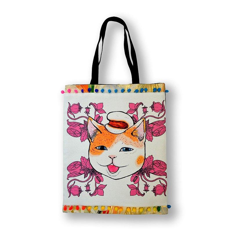 GOOKASO 米白色薏米印花圖案手提袋Totabag 背車以中古和服布製作