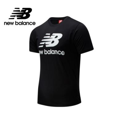 【New Balance】立體NB Logo短袖上衣_男性_黑色_AMT01511BK