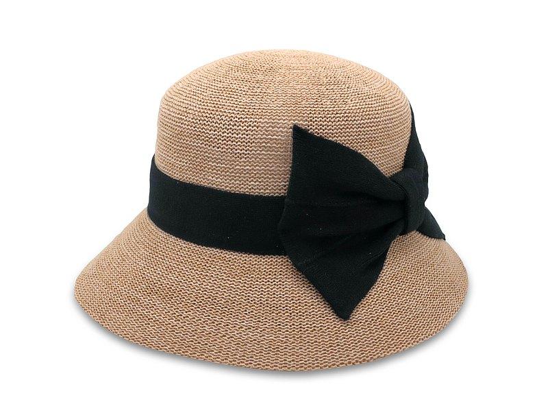 英倫蝴蝶結淑女帽-自然 針織帽 紙線編織 可水洗 台灣製