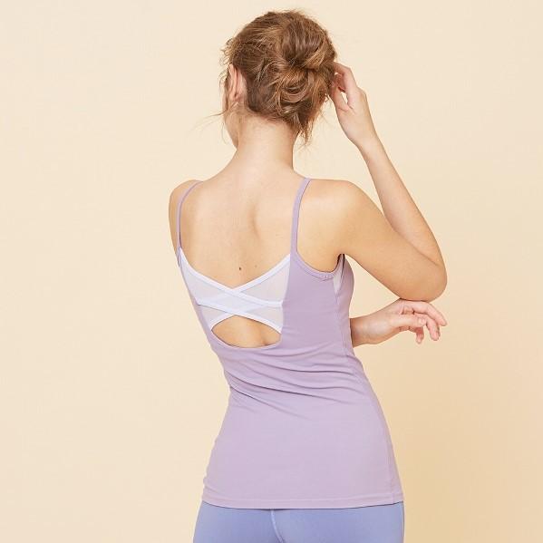 FRONT2LINE 芭蕾風網紗長瑜珈背心 中紫色 附胸墊