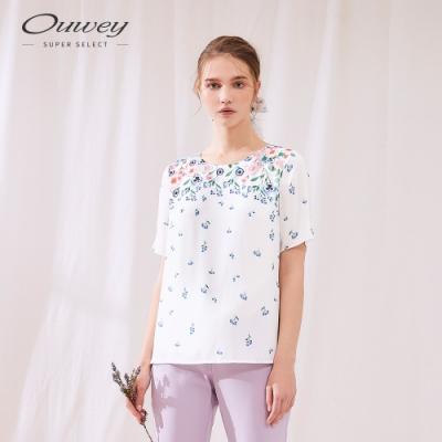OUWEY歐薇 水彩感印花質感上衣(白)