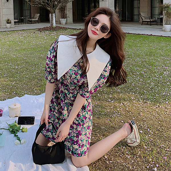出清388 韓國風翻領碎花燈籠袖收腰復古短袖洋裝