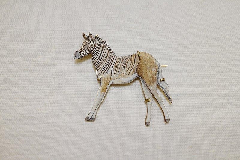 斑驢 quagga / 消失動物系列 / 金工黃銅底托