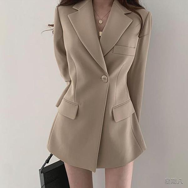 英倫風西裝外套 西裝外套女韓版2020春裝新款港風寬鬆休閒西服外套女潮