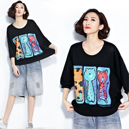 【韓國KW】F 俏皮卡通貓咪寬鬆上衣