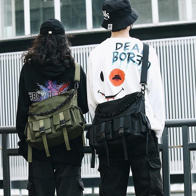 FOFU-防水斜背包時尚大體積多口袋工業風防水斜背包【08B-T0114】