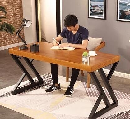 辦公桌 定制北歐實木書桌寫字桌臥室長方形桌子簡約辦公桌電腦台式桌家用 萬寶屋