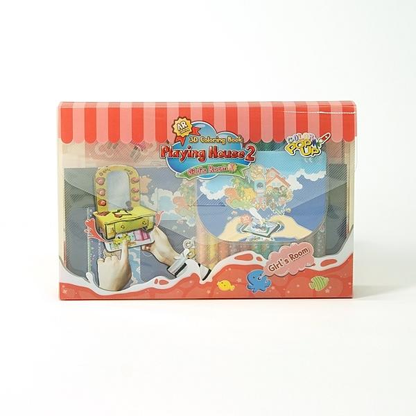 韓國 VUIDEA AR 兒童繪本/遊戲屋/女孩的房間 + 無毒蠟筆組