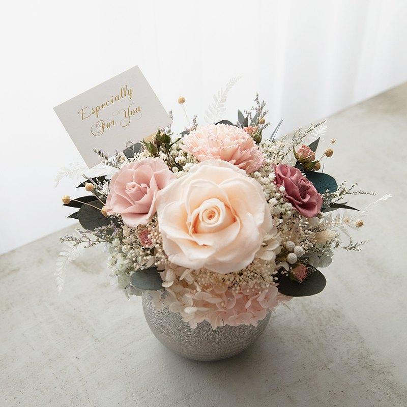 畢業謝師母親節禮品包裝選嫩粉橘玫瑰永生花乾燥花銀盆花器生日禮