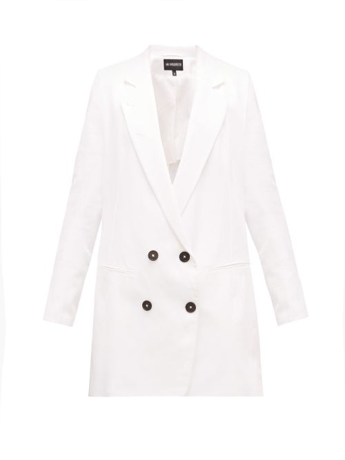 Ann Demeulemeester - Lace-up Double-breasted Cotton-blend Blazer - Womens - White