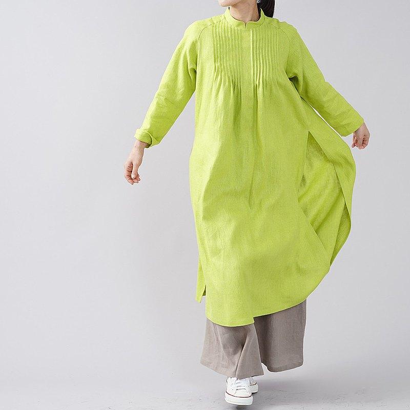 wafu-中厚麻連衣裙Pintuck奧黛風格麻連衣裙長袖側開叉立領/黃綠色a089a-str2