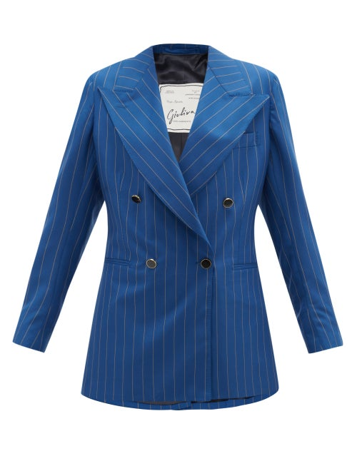 Giuliva Heritage Collection - The Stella Pinstriped-wool Suit Jacket - Womens - Blue Stripe